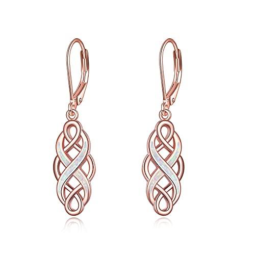 YFN Celtic Knot Dangle Earrings Rose Gold Plated Sterling Silver Good Luck Irish Celtic Knot Vintage Dangles for Women (Rose Gold Celtic Earrings)