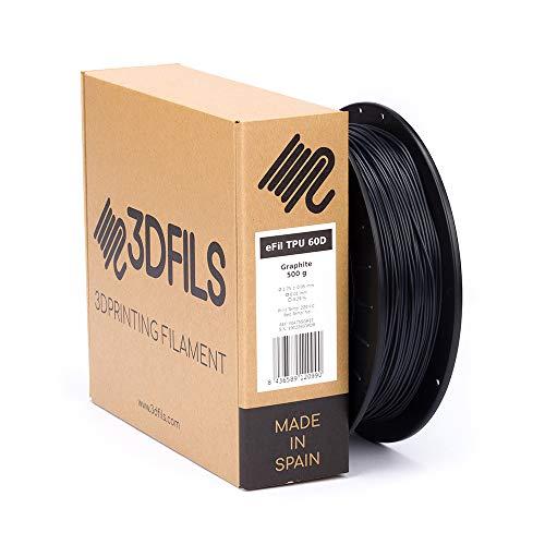 3DFILS - Filamento flexible para impresión 3D eFil TPU 60D: 1.75 mm, 500 g, Grafito