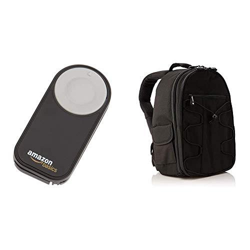 Amazon Basics- Zaino per fotocamera SLR + accessori, Nero & Amazon Basics - Telecomando wireless per fotocamere digitali SRL Nikon P7000, D3000, D40, D40x, D50, D5000, D60, D70, D7000, D70s, D80 e D90