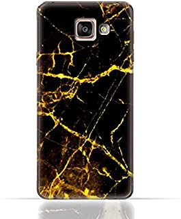 Samsung Galaxy A7 2017 TPU Silicone Case With Dark And Gold Mesh Marble Pattern Design.