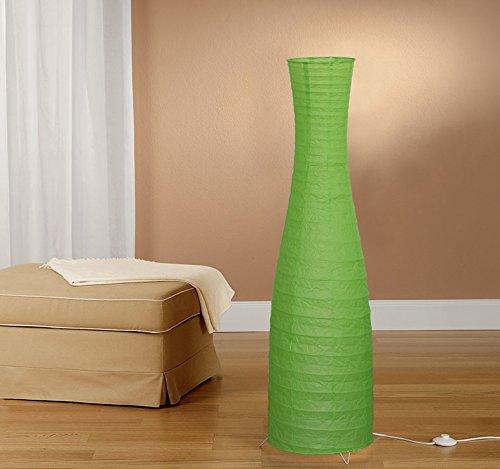 Trango Modernem Design Stehlampe I Reispapier Lampe in Flaschenform Grün TG1231-027G Stehleuchte 125cm Hoch als Wohnzimmer Deco Lampe I Standleuchte I Lampenschirm