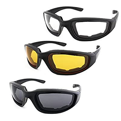 3 Pair Motorcycle Riding Glasses Padding Goggles UV Protection Dustproof Windproof Motorcycle Sunglasses with Clear Smoke Yellow Lens for Outdoor Sports Actives from Modi Fly