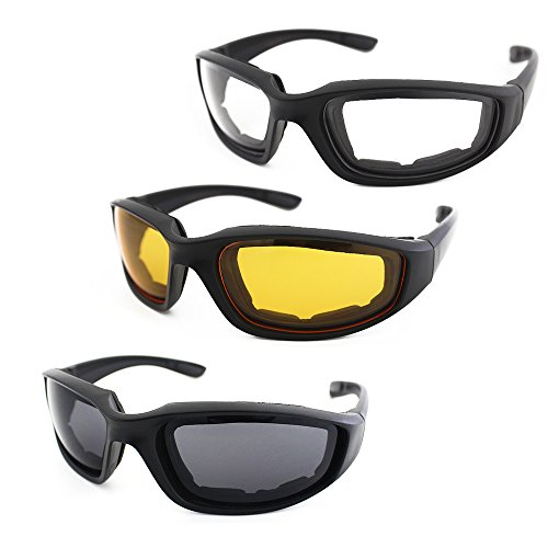 3 Pair Motorcycle Riding Glasses Padding Goggles UV Protection Dustproof
