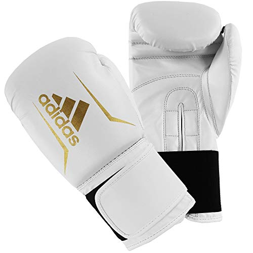 adidas Speed 50 Gym Fitness Training Workout Sparring Kick Boxing Gloves Mens Women Kids 6oz 8oz 10oz 12oz 14oz 16oz Boxhandschuhe, Weiß/Gold, 340,2 g (12 oz)