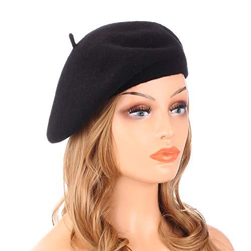Wheebo Damen Wolle-Barett-Hut, Solid Color Französisch Art-Winter-warme Kappe Einheitsgröße Schwarz