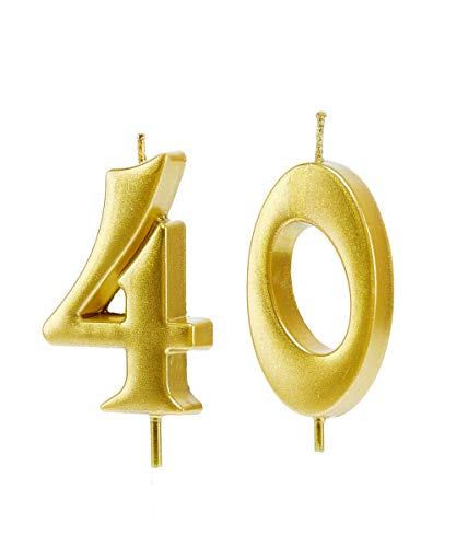 Mart 40th Birthday Candles,Gold Number 40 Cake Topper for Birthday Decorations