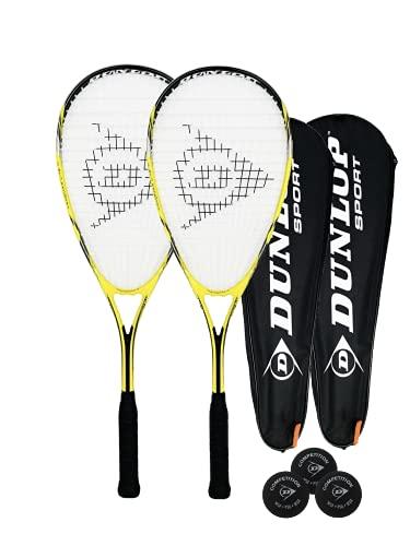 2 x Dunlop nanomax Ti Squash Speler + tasje beschermhoes
