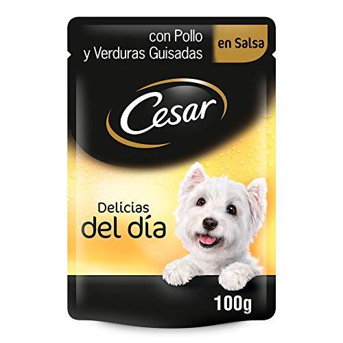Cesar Comida Húmeda para Perros, Sabor Pollo y Verduras en Salsa (Pack de 24 bolsitas x 100g) ⭐