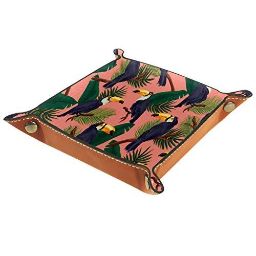 KAMEARI Bandeja de cuero con diseño de pájaros de Toucan, hojas verdes, rosa tropical, monedero de cuero de vacuno, práctica caja de almacenamiento