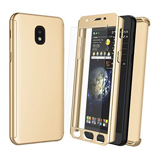 NJJEX Case for Samsung Galaxy J3 2018/J3 Eclipse 2/J3 Orbit/J3 Achieve/Express 3/Amp 3/J3V/J3 Aura/J3 Star W/[Tempered Glass Screen Protector], [N360] Full Body Slim Phone Cover [Gold]