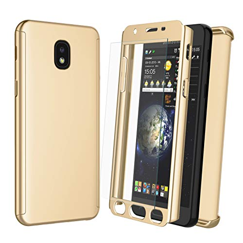NJJEX Case for Samsung Galaxy J7 Refine/J7 2018/J7 Star/J7 V 2nd/J7 Aura/J7 Top/J7 Crown/J7 Eon/J7 Aero W/[Tempered Glass Screen Protector], [N360] Full Body Hard Slim Phone Cover [Gold]