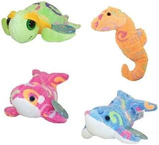 Fiesta Plush - Mini Color Swirls - Set of 4 (Dolphin, Orca, Seahorse & Turtle)
