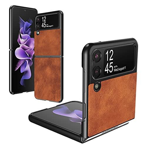 Foluu Galaxy Z Flip 3 5G Hülle, für Samsung Galaxy Z Flip 3 5G Lederhülle, PU Leder + harte PC Schale Ultra Dünn Slim Durable Schutzhülle Handyhülle für Samsung Galaxy Z Flip 3 5G 2021 (braun)