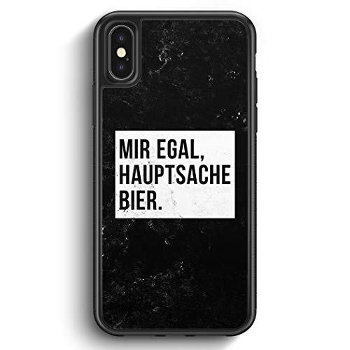 Mir Egal Hauptsache Bier - Silikon Hülle für iPhone XS Cover - Motiv Design Cool Witzig Lustig Spruch Zitat Grunge - Handyhülle Schutzhülle Hülle Schale
