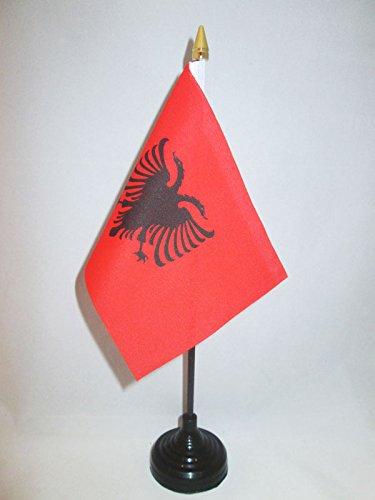 AZ FLAG TISCHFLAGGE ALBANIEN 15x10cm goldene splitze - ALBANISCHE TISCHFAHNE 10 x 15 cm - flaggen