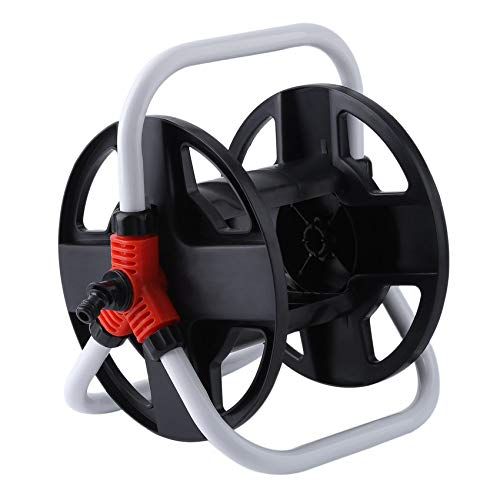 cottonfree Portable Compact Hand-cranked Stable Durable Construction ABS Water Hose Reel Drum 25-40M Hose Capacity Black&White