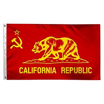 DUSH Flag of Communist California Republic Bear Flags 3X5 Foot Durable Fade Resistant Lightweight Polyester Banner