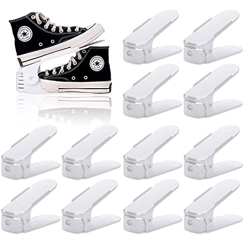 BIGLUFU Set de 12pcs Organizadores de Zapatos, Soporte de Calzado de Altura Ajustable, Zapatero Simple, Adecuada para Mujeres y Hombres, Ahorra Espacio (Blanco)