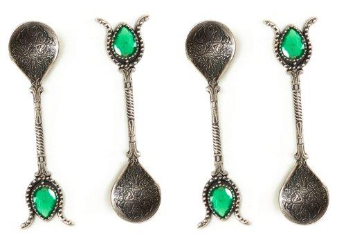 Handgefertigter Kupfer Türkische Ottoman Löffel Geschenk-Set von 4, Tee, Kaffee, Zucker Messung, Servieren ANTIQUE SILVER GREEN