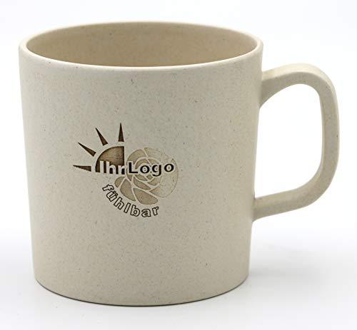 Magu - Juego de 10 tazas de café con logotipo y nombre personalizados de bambú para nombre - Grabado láser individual 10 x 463 - Pizarra