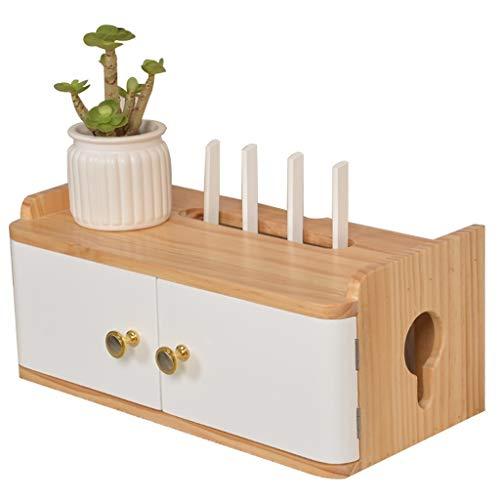 Caja de almacenamiento multifuncional con enrutador inalámbrico Wifi para montaje en pared, mueble de TV de madera, caja de refugio decorativa creativa (color blanco, tamaño: 40 x 20 x 17,5 cm)