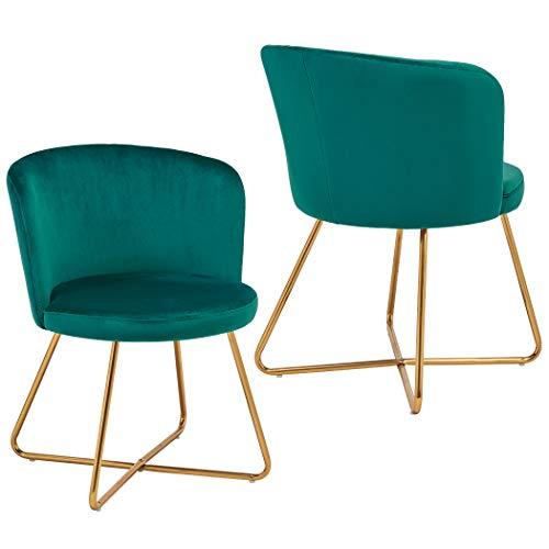 2X Silla de Comedor de Tela (Terciopelo) diseño Retro Silla tapizada Vintage sillón con Patas de Metal seleccion de Color Duhome 8076X, Color:Verde Azulado, Material:Terciopelo