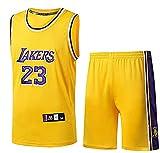 BCVDF Uniforme da Basket da Uomo, Maglia Versione Fan,Maglia da Basket Lebron James n.23 Lakers + Pantaloncini,Uniforme da Allenamento Estiva da Basket,Tessuto 100% Poliestere S Yellow