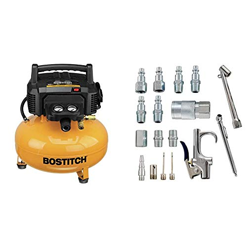 BOSTITCH Pancake Air Compressor, Oil-Free, 6 Gallon, 150 PSI (BTFP02012) & Accessory Kit, 17 Piece Compressor Inflation Kit, with Blow Gun, Air Chucks, & Inflation Needles