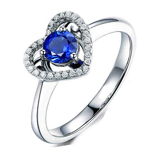 AueDsa Anillos de Plata de Ley Mujer 925,Anillo Zafiro Azul Corazón con Redondo 5X5MM Zafiro Azul Blanco Anillo Compromiso Mujer Talla 11