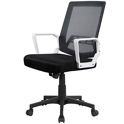 Yaheetech Bürostuhl Schreibtischstuhl ergonomischer Drehstuhl Sportsitz Chefsessel Wippfunktion mit Armlehnen Grau