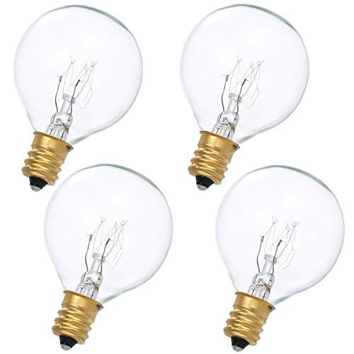 (4 Pack)Wax Warmer Bulbs, 25 Watt G50 Bulbs for Full-Size Scentsy Warmers, E12 Incandescent Candelabra Base Clear Light Bulbs for Candle Wax Warmer,Dimmable - Warm White - 110-130 Volt Light Bulbs