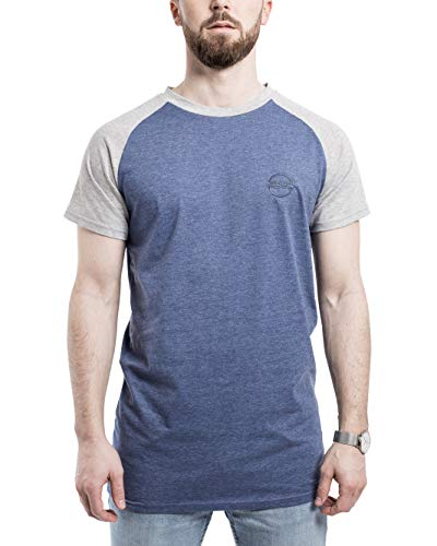 Blackskies baseballshirt met korte mouw T-shirt | Lange overmaat Fashion Basic T-Slijtage van de Straat Mannen Lang shirt met lange tea gevlekt - Rood Grijs Blauw Wit Zwart SML XL