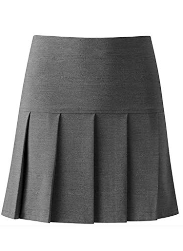 Deluxe Beddings Girls Ladies Women School All Round Pleated Skirt with Zip Drop Waist Girls UK & Women UK Sizes, Girls 15-16 Years Old Waist 28 Inches (71 cm) (Girls 15-16 Years, Grey)