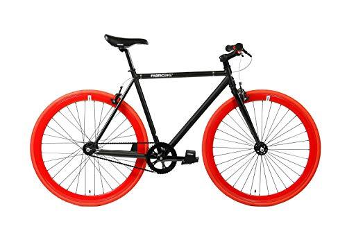 FabricBike- Bicicleta Fixie, piñon Fijo, Single Speed, Cuadro Hi-Ten Acero, 10Kg (M-53cm, Matte Black & Red)