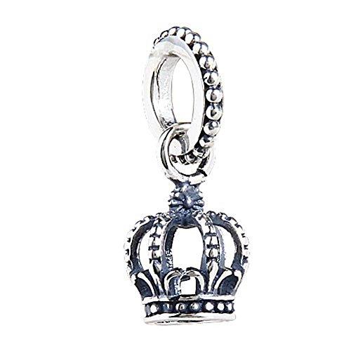 Hanger/bedel – noble en prachtige kroon, van echt 925 sterling zilver, hangend, geschikt voor Europese bedelarmbanden of halskettingen.