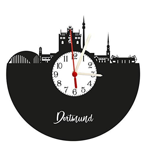 Wanduhr, Schallplattenuhr mit Quarzwerk, Dortmund Skyline mit Zifferblatt
