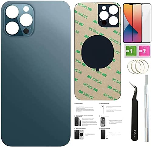 12 Pro Max Back Glass Replacement for iPhone 12pro Max Back Cover Glass (6.7 Inch) with Pre-Installed Tape +Installation Instruction + Repair Tools+ Screen Protector (Pacific Blue)
