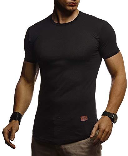 Leif Nelson Herren Sommer T-Shirt Rundhals Ausschnitt Slim Fit Baumwolle-Anteil Cooles Basic Männer T-Shirt Crew Neck Jungen Kurzarmshirt O-Neck Kurzarm Lang LN8294 Schwarz Large
