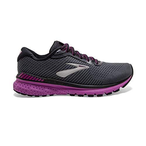 Brooks Womens Adrenaline GTS 20 Running Shoe - Ebony/Black/Hollyhock - B - 9.5