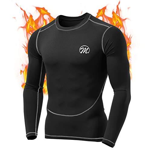 MeetHoo Maglia Termica Uomo, T-Shirt Manica Lunga Maglie Termiche Invernali da Sport Compression Baselayer per Corsa Ciclismo Calcio (Nero-2, S)