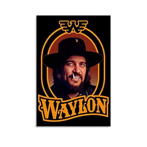HOGOMO Vintage Music Poster Waylon Jennings Country Poster Decorative Painting Canvas Wall Art Living Room Posters Bedroom Painting 12x18inch(30x45cm)