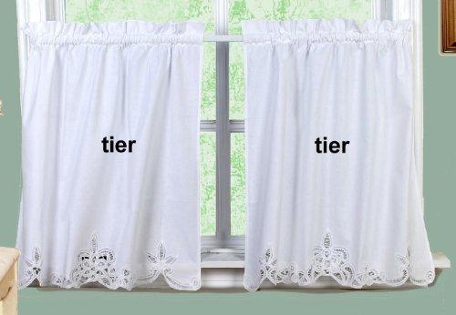 """Creative Linens Battenburg Lace Kitchen Curtain 36"""" L Tiers White"""