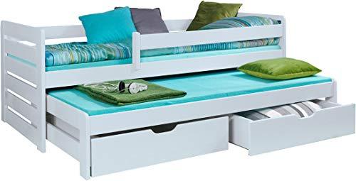 FurnitureByJDM - Stapelbed met matrassen en opberglades - THOMAS - Massief, natuurlijk grenen hout - (Wit)