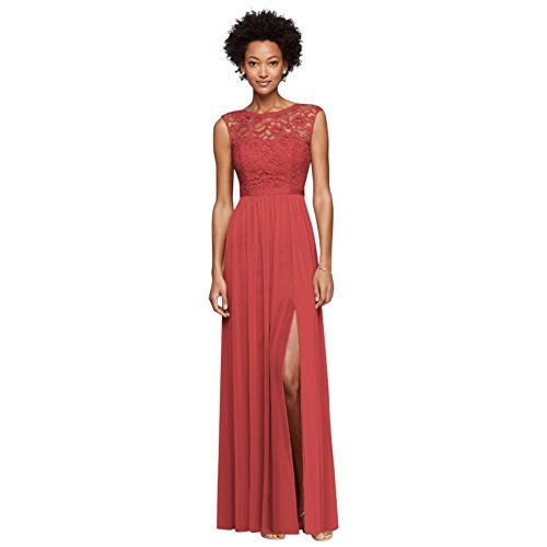 Long Bridesmaid Dress with Lace Bodice Style F19328, Guava, 0