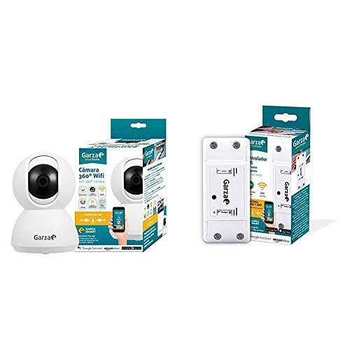 Garza SmarthomeCámara IP WiFi Inteligente 360, visión Nocturna + SmarthomeSmart Switch Interruptor Inteligente WiFi Integrado, compatibles con Alexa, iOS y Google Home
