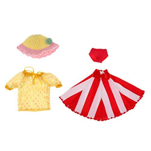 Mädchen Puppenkleidung Puppen Kleider Mädchen Puppen Bekleidung für 1/6 Blythe Puppen - Gelb + Rot