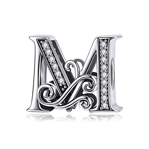 Missy Jewels, Charm Plata 925 Letras Vintage compatibles Pulseras Pandora, Missy, Swarovski, Chamilia, etc. Iniciales abecedario (Letra M)
