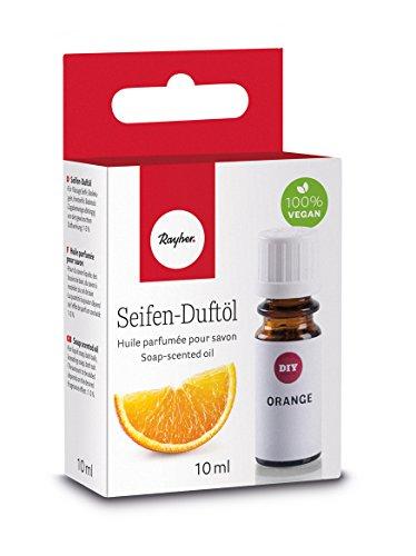 Rayher 34255000 Hobby Seifen Duftöl (100% vegan, in Glasflasche mit Kindersicherheitsverschluss, hautpflegende und wohltuende Wirkung) Orange, 10 ml