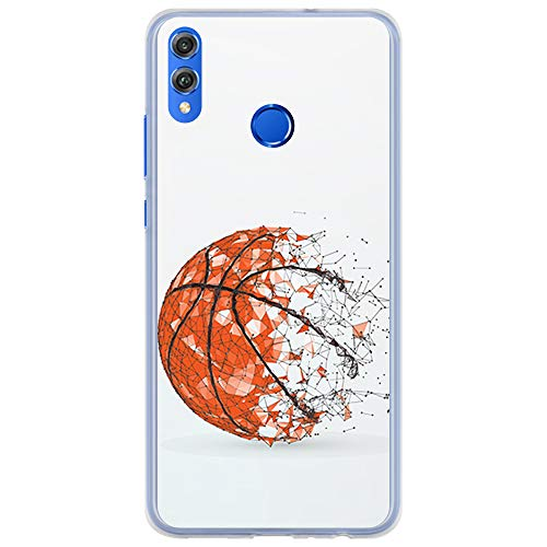 BJJ SHOP Funda Transparente para [ Huawei Honor 8X Honor View 10 Lite ], Carcasa de Silicona Flexible TPU, diseño: Pelota de Baloncesto, Abstracto