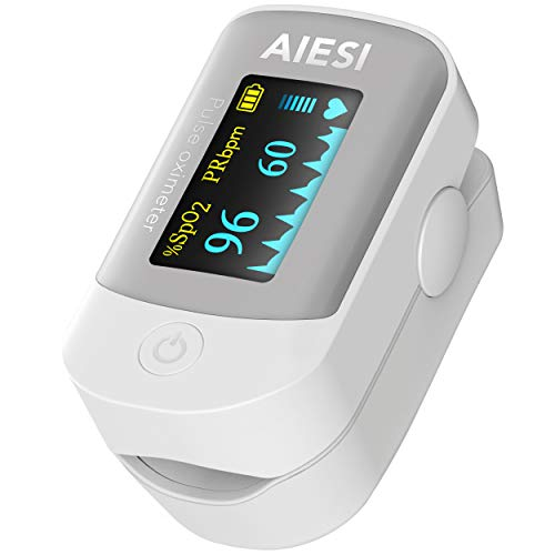 AIESI® Oxímetro de pulso Pulsioximetro de dedo profesional certificado con pantalla a COLOR ajustable A2 # Pilas # Funda # Manual usuario plurilingüe # Garantía 24 meses ✅